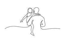 Father With Daughter In Continuous Line Art Drawing Style. Back View Of Strong Dad Holding His Little Female Child Black Linear Sketch Isolated On White Background. Vector Illustration