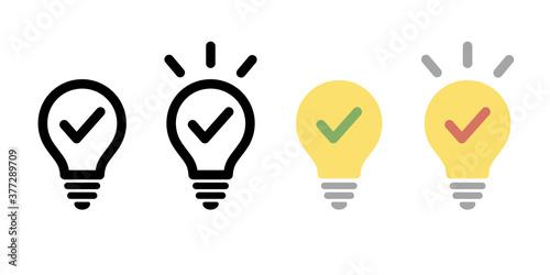 Canvastavla 電球のアイコンのセット/シンプル/ピクトグラム/閃き/ライト/ビジネス/発見
