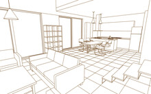 Interior Kitchen Living Room 3...