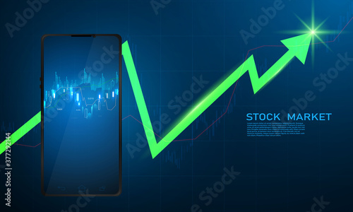 stock market, economic graph with diagrams, business and financial concepts and reports, abstract technology communication concept vector background
