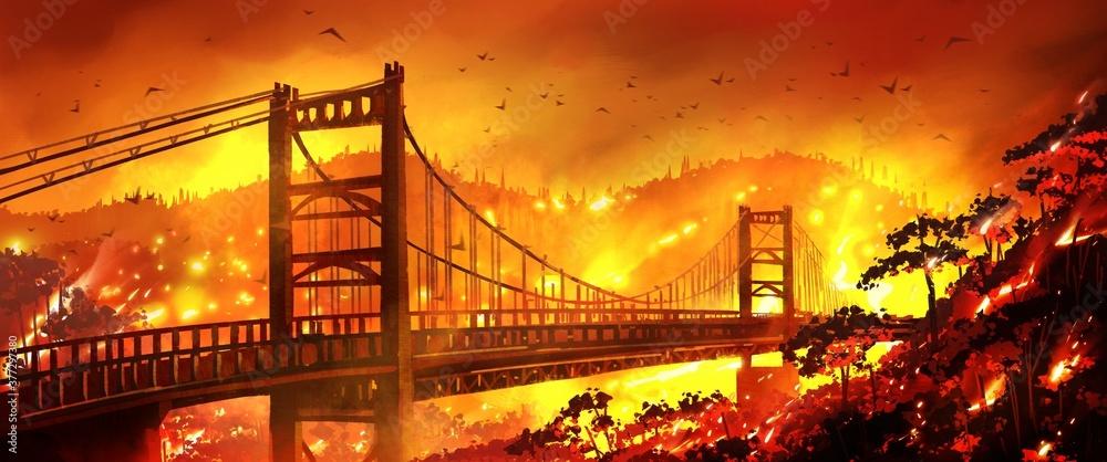 Fototapeta Golden gate bridge California Bridge is on fire and mountain forests are burning.