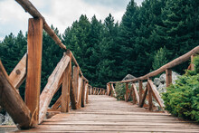 A Wooden Bridge In The Middle Of A Forest In Bulgaria. Beautiful Nature Landscape
