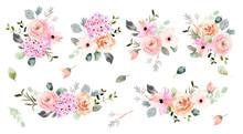 Beautiful Soft Flower Arrangement Watercolor Collection
