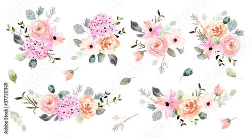 Fotografie, Obraz beautiful soft flower arrangement watercolor collection
