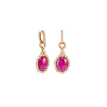 Pair Of Diamond Earrings With Pink Tourmaline In Pink Gold Isolated On White Background. Golden Earrings With Diamonds, Luxury Jewelry