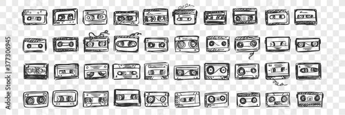 Fotografie, Obraz Hand drawn audio tapes doodle set
