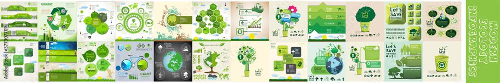 Fototapeta Modern ecology infographics template