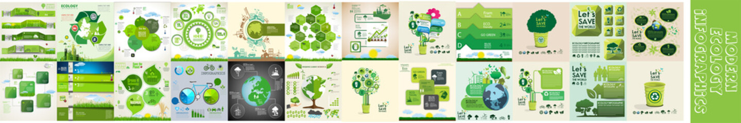 Modern ecology infographics template