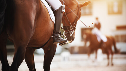 On a Bay horse with a dark tail in the saddle sits a rider who holds a whip and a foot in the stirrup, and to meet them rides a rival in equestrian competitions.