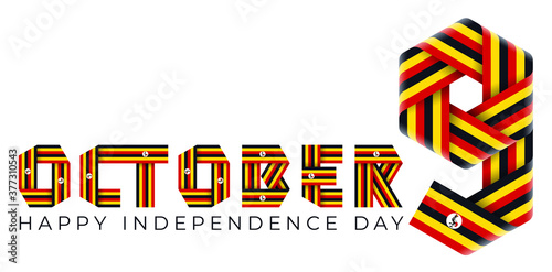 Canvas-taulu October 9, Independence Day of Uganda congratulatory design with ugandan flag colors