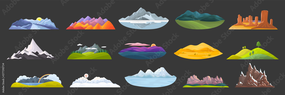 Fototapeta Mountains doodle set. Collection of cartoon style drawing skteches templates of rocky objects hill tops and outdoor landscape with winter peaks and sand dunes. Natural terrain and tourism illustration