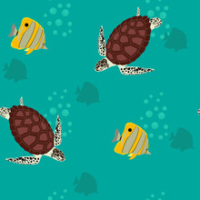 Seamless Ocean Pattern With Turtles And Tropical Fish ,