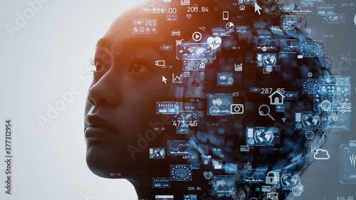 人とテクノロジー AI・人工知能 Fotobehang