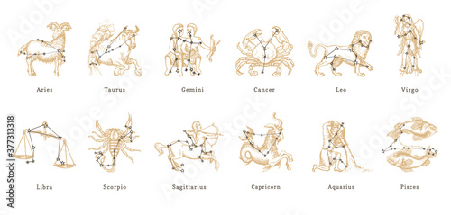 Photo Vector retro graphic illustrations of Zodiac signs