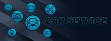 Dark Blue Car Service Banner Background Design