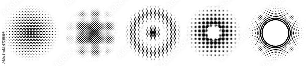 Fototapeta Set of simple halftones. Black gradient circles of dots. Dotwork. Vector illustration.