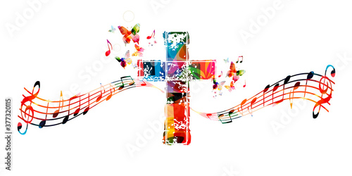 Fotomural Colorful christian cross with music notes isolated vector illustration