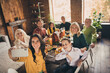 canvas print picture - Photo of full family gathering eight people woman mother hold telephone make shoot selfie harmony peaceful day served dinner big table turkey generation in home evening living room indoors