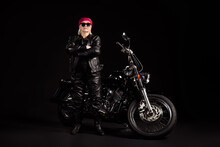 Portrait Of Her She Nice Attractive Old Grey-haired Lady Hipster Rocker Traveler Chopper Rider Wearing Leather Clothes Look Outfit Folded Arms Isolated Black Color Background