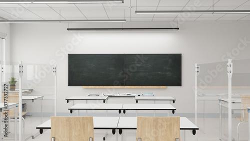 Obraz na plátně Plexiglas Trennwände in Klassenraum einer Schule