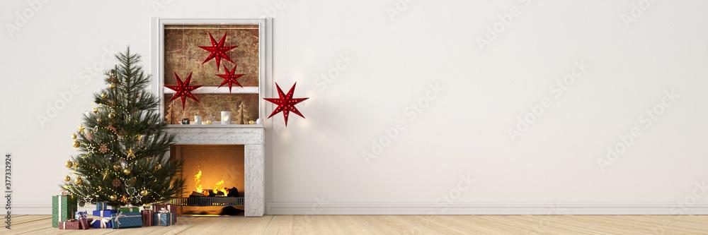 Fototapeta Weihnachtsbaum mit Geschenken neben Kamin an Weihnachten