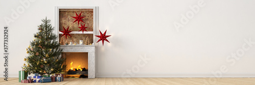 Weihnachtsbaum mit Geschenken neben Kamin an Weihnachten #377332924