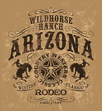 Arizona Wild Horse Western Rodeo Vintage Vector Artwork For Boy Man T Shirt