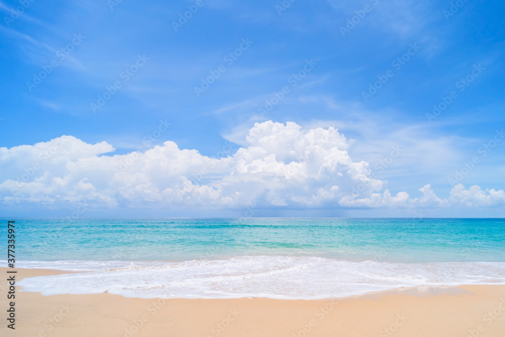 Fototapeta Beautiful tropical beach with blue sky and white clouds abstract texture background. Copy space of summer vacation and holiday business travel concept.