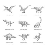 Prehistoric Dinosaurs Sketch Signs, Symbols or Illustrations Set. Hand Drawn Vector Ancient Reptiles Silhouttes Collection. Doodle Style Drawings Bundle.