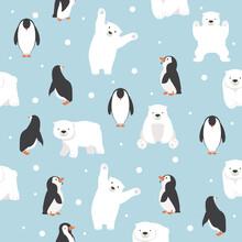 Polar Bears With Penguins Saem...