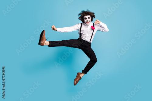 Full length body size view of his he handsome funky cheerful cheery creepy energ Fototapeta