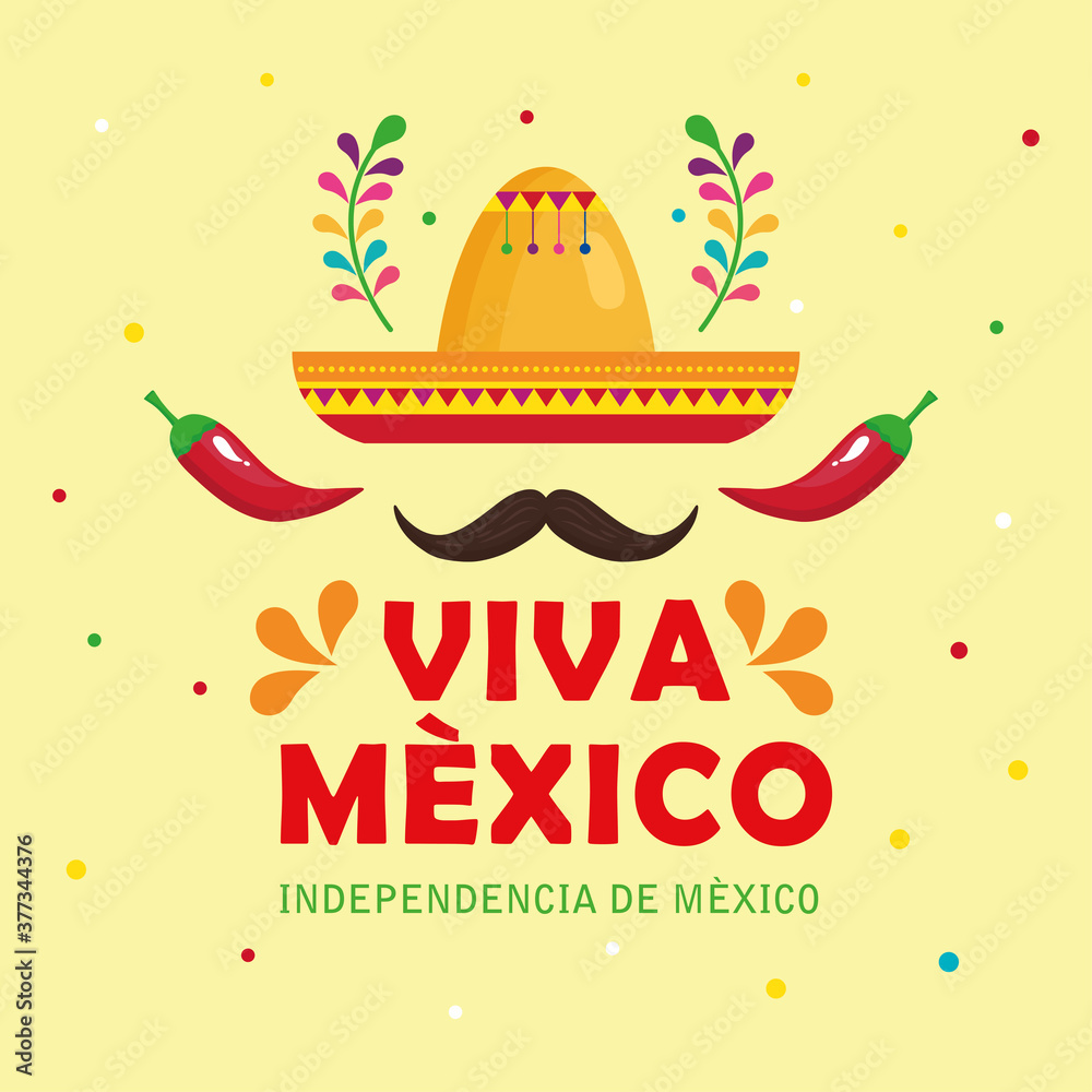 Fototapeta viva mexico, happy independence day, 16 of september with hat, moustache, chili peppers and decoration vector illustration design