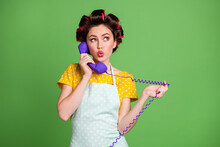 Photo Minded Girl Call Help Line Center Decide Home Solution Use Telephone Cord Look Copyspace Wear Yellow Dotted Dress Hair Rollers Isolated Green Color Background