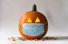 Covid Pandemic Halloween Pumpk...