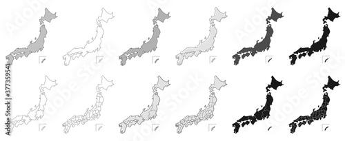 Fotografie, Obraz map japan 日本地図 都道府県 セット