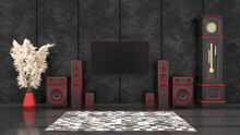 Black Interior With Modern Design Black And Red Speaker System And TV