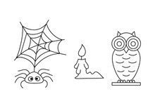 Doodle Halloween Set Ison Isolated On White. Hand Drawing Line Art. Sketch Vector Stock Illustration. EPS 10