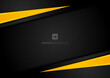 Abstract template yellow geometric triangles contrast black background.