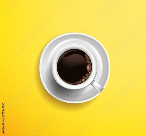 Obraz na płótnie : classic white cup coffee americano yellow background view from.