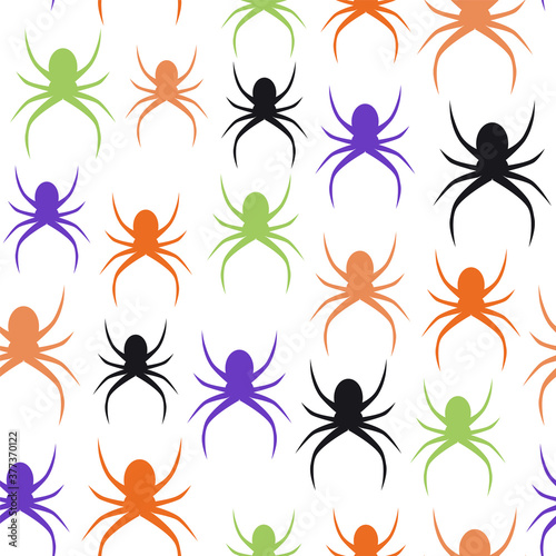 Spiders seamless pattern on transparent background Wallpaper Mural