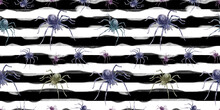Halloween Spiders On Black And White Striped Background. Spider Watercolor Pattern. Seamless Watercolor Pattern For Fabric, Textile, Wrapping Paper.