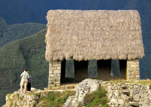 Thatch Roof On Remains Of Ancient Watchtower Of Machu Picchu, Peru