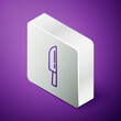 Isometric line Knife icon isolated on purple background. Cutlery symbol. Happy Halloween party. Silver square button. Vector.