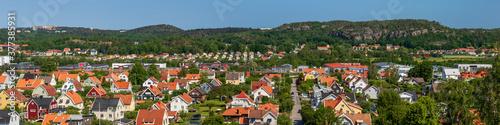 Fototapeta panorama bird's-eye view of a residential neighborhood in a small town in Sweden obraz na płótnie