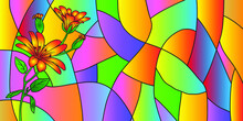 Flowers Graphic Trendy Design Stained Glass Vector Illustration, Picasso Style Painting Abstract Artwork.