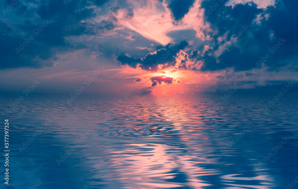 Fototapeta Evening sky with clouds, neon sunset, reflection in water, sea. The sun's rays through the clouds. 3D illustration.