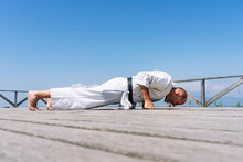 Karate Man Stand, Rests All Yo...