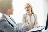 Fototapeta Łazienka - businesswoman woman deal contract handshake hand shake deal agent business client agreement