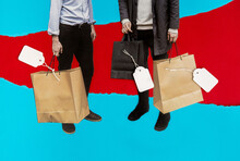 Collage Of Shopping Bags And Price Tags