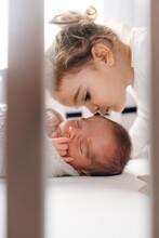 Little Sister Kissing Her Newb...